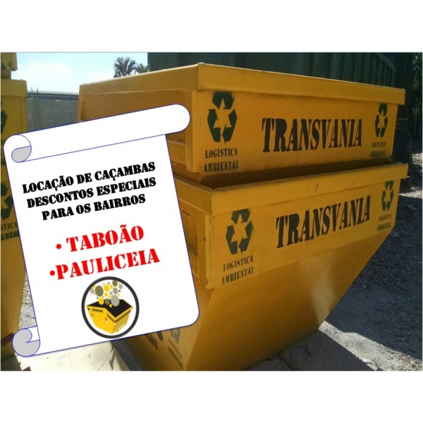 Valor de Aluguel de Caçamba na Vila São Pedro - Caçamba de Entulho Preço Aluguel SP